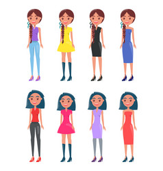 Brunette braided girls in modern casual looks set vector