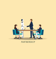 Businessman and artificial intelligence robot vector
