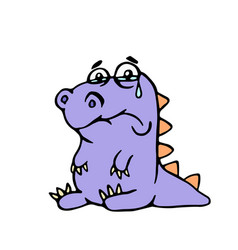 cartoon purple sad dino vector image