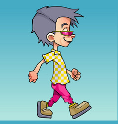cartoon walking boy in pink glasses and bright vector image