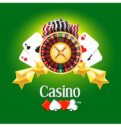 Casino american roulette money cards game green vector