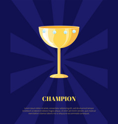 champion rewarding icon poster blue rays backdrop vector image