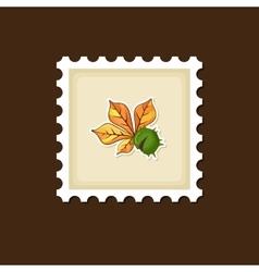 Chestnut with leaf stamp Harvest Thanksgiving vector image