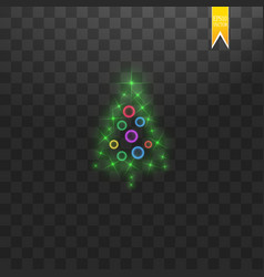 christmas tree made green glitter bokeh lights vector image