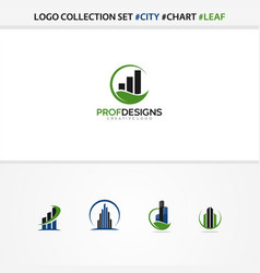 City chart leaf eco luxury residence vector