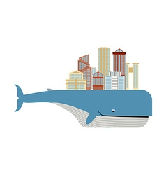 City on back of whale Metropolis on big fish vector image