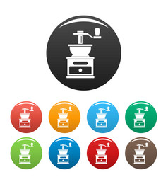 coffee grinder icons set color vector image