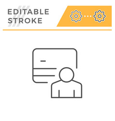 credit card holder editable stroke line icon vector image