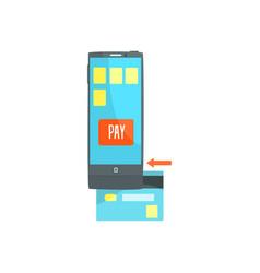 Credit card reader on smartphone scanning a credit vector