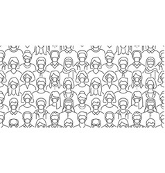 crowd people in face masks seamless vector image