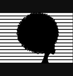 Curly afro hair portrait african women striped vector