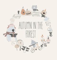 cute animals with autumn elements hello autumn vector image