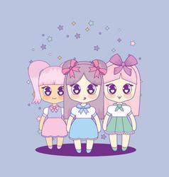 cute kawaii girls characters vector image