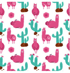 cute pink alpaca with cacti seamless pattern on vector image