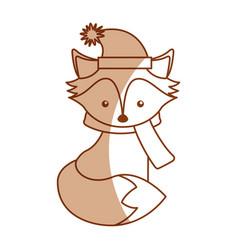 Cute shadow christmas fox cartoon vector