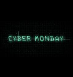 Cyber monday banner glitch effect vhs retro vector