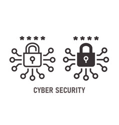 cyber security icon on white background vector image