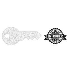 Distress intruder ribbon seal stamp and mesh 2d vector