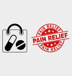drugs shopping bag icon and grunge pain vector image