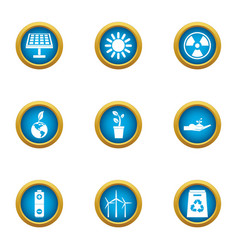 Energy carrier icons set flat style vector