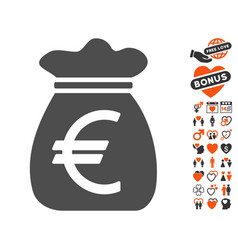 euro money bag icon with lovely bonus vector image