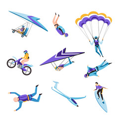 extreme air and motor or water sport flying and vector image