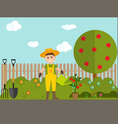 Farmer gardener man with watering can and tomato vector