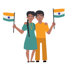 Flat indian young couple holding national flag vector