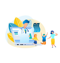 Flat online consultation doctor and patient vector