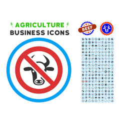 Forbidden cattle rounded icon with set vector