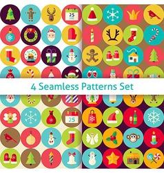 Four Flat Merry Christmas Seamless Patterns Set vector