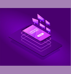 future isometric language courses vector image
