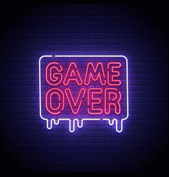 game popup game over neon sign game over neon vector image