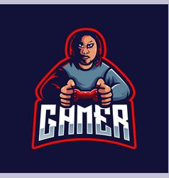 Gamer e-sport mascot logo design boy vector