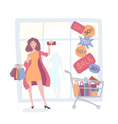 girl on a shopping near the store with sales vector image