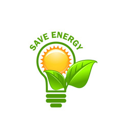 green leaf sung and lamp save energy icon vector image