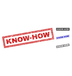 grunge know-how scratched rectangle stamp seals vector image