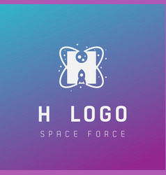H initial space force logo design galaxy rocket vector