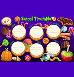 Halloween holiday school timetable weekly planner vector