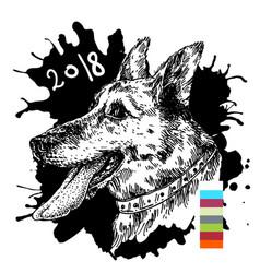 hand drawn dog vector image