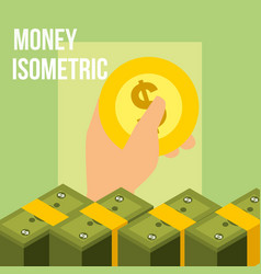 hand holding coin currency banknotes money vector image