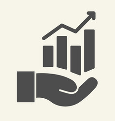 hand holding graph solid icon growth chart in vector image