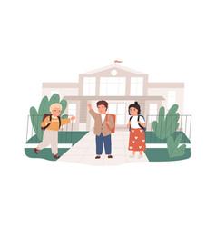 happy children with backpacks meeting near school vector image