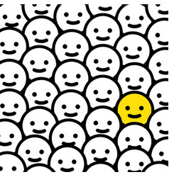 Happy emoticon in crowd - isolated vector