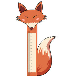 Height measurement chart with wild fox vector