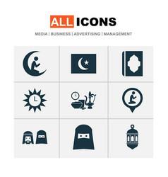 holiday icons set with iftar ramadan azan and vector image