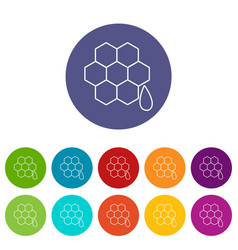 honeycomb icons set color vector image