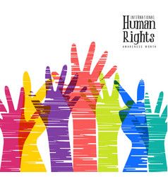 human rights month card of diverse people hands vector image