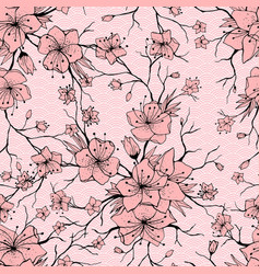 japanese sakura branch and blossoming flowers vector image
