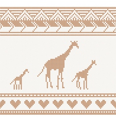 Knitted pattern with giraffe vector